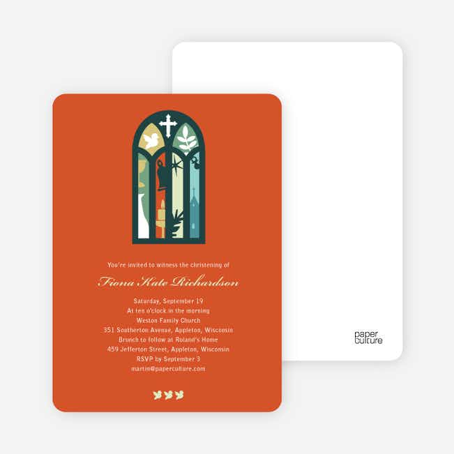 Stained Glass Christening Card - Orange