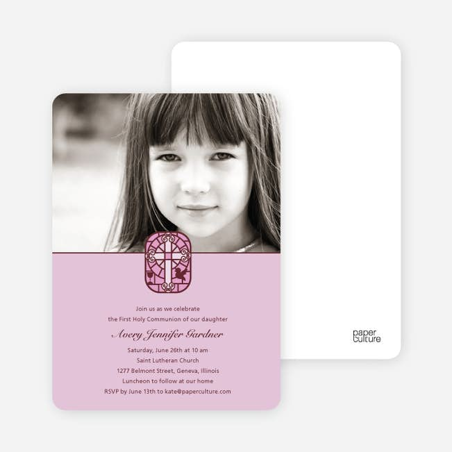 Stained Glass Photo Card For First Holy Communion Invitations