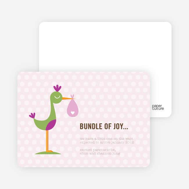 Stanley the Stork Pregnancy Announcement Cards - Pink Berry