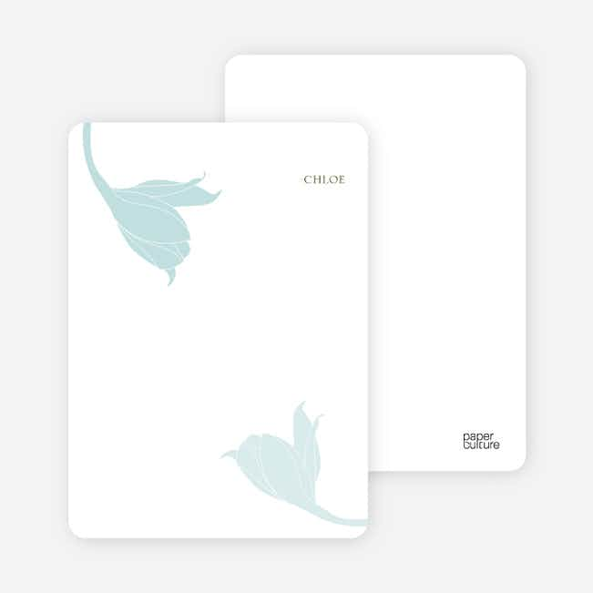 Stationery: 'Floral Elegance' cards. - Pale Aqua