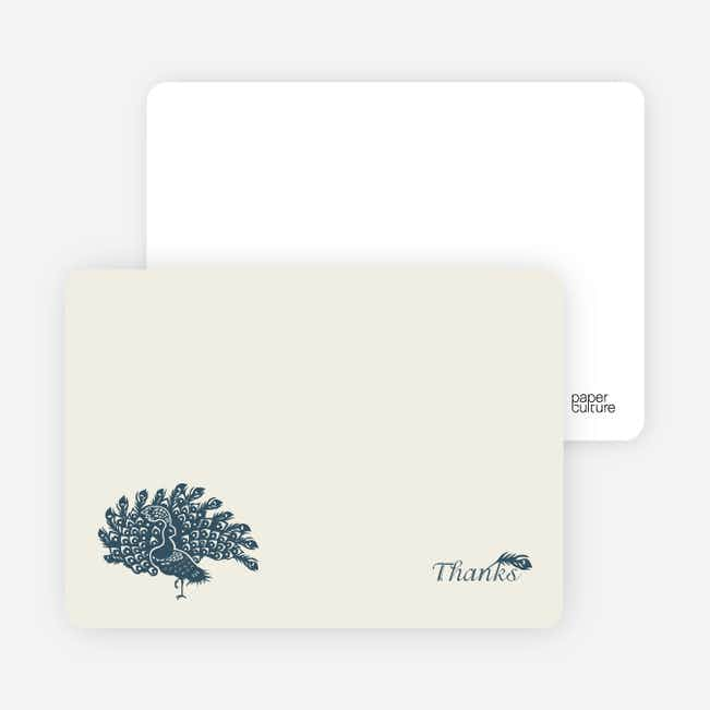 Stationery: 'Peacock Bridal Shower' cards. - Slate Blue