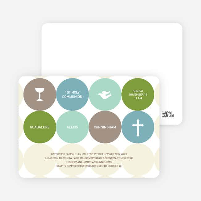 Symbols of Communion Invitations - Lime Green