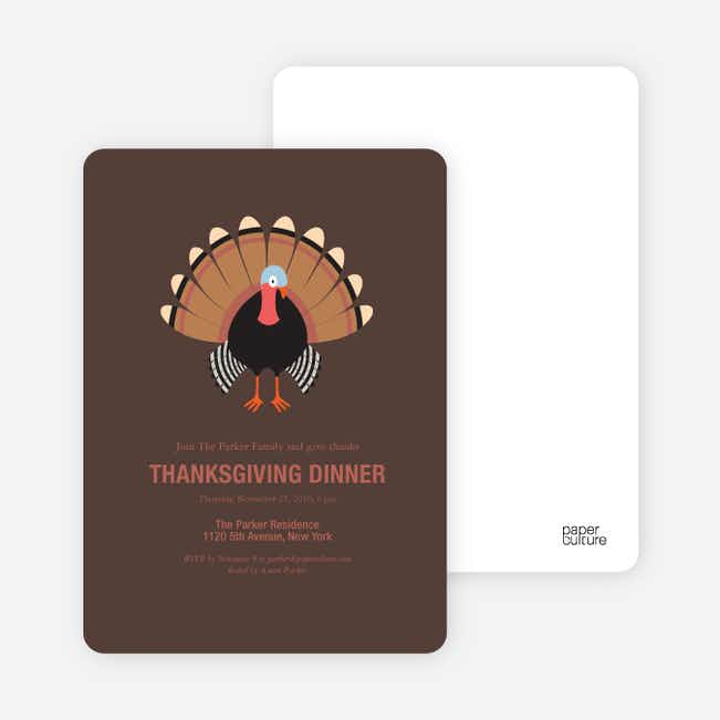 Thanksgiving Dinner Party Invitations - Brown