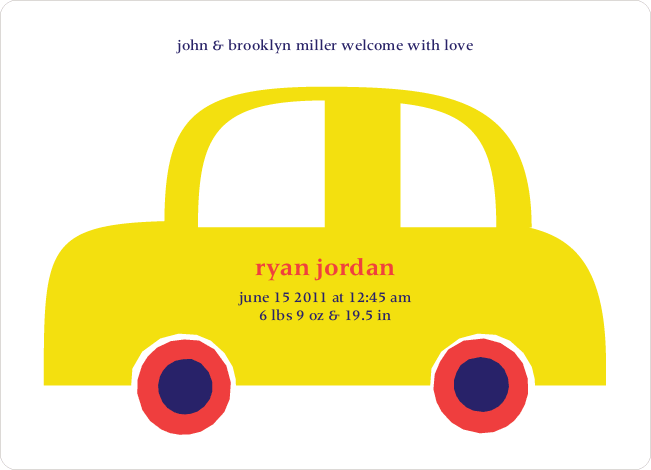 Twin Fold: Car Twins Baby Announcement - Schoolbus Yellow