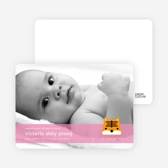 Tony the Tiger Photo Birth Announcements - Carnation
