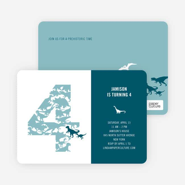 Ultimate Dinosaur Invitation - Baby Blue