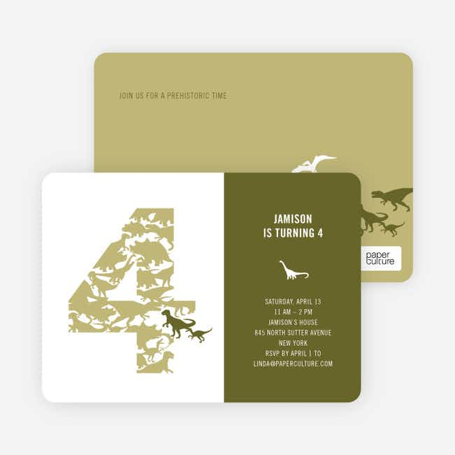 Ultimate Dinosaur Invitation - Khaki