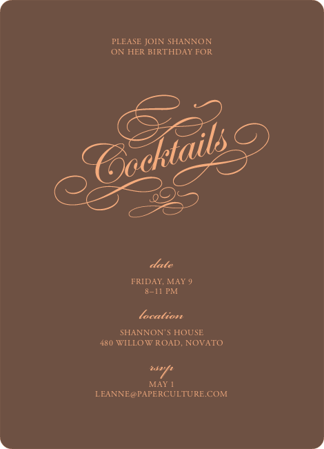 Elegant, Yet Modern Cocktail Party Invitation - Chocolate Brown