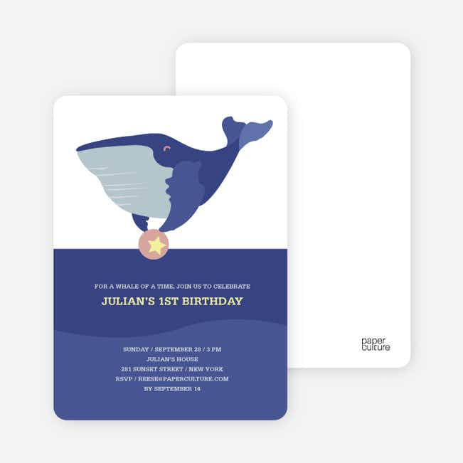 Whale of Time Modern Birthday Invitation - Purple Blue