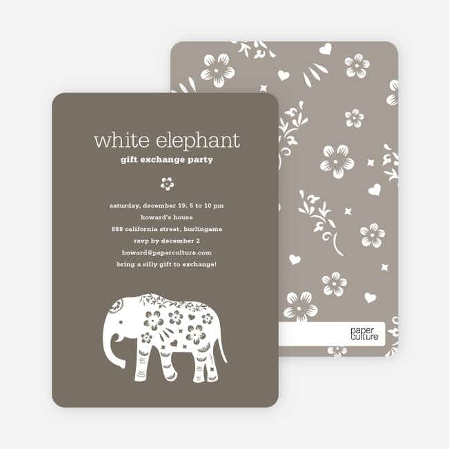 White Elephant Holiday Party Invitation (aka Secret Santa) - Charcoal Grey