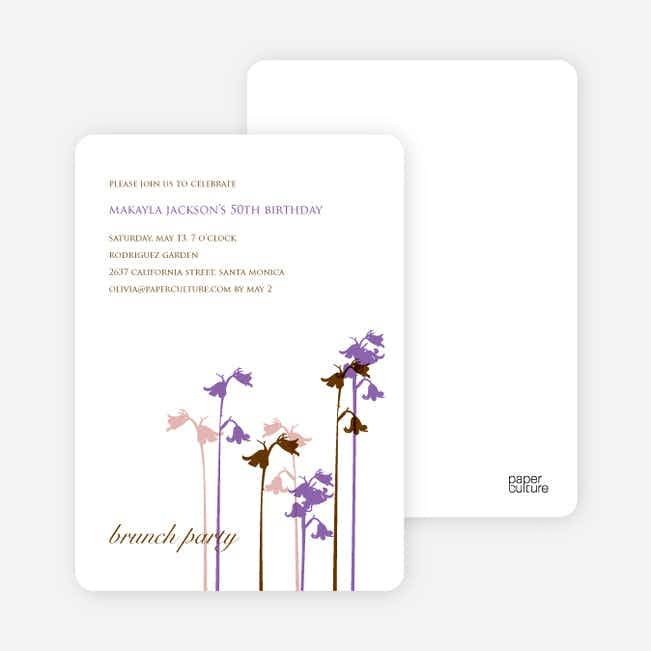 Wild Flower Invitation and Announcement - Forest Green