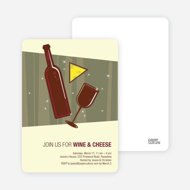 wine and cheese party invitations | paper culture, Party invitations
