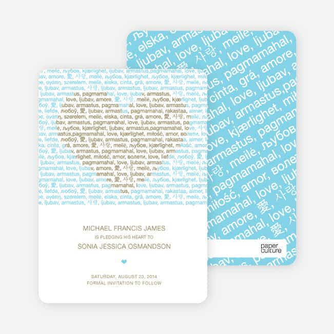 Words of Love Save the Date Cards - Khaki