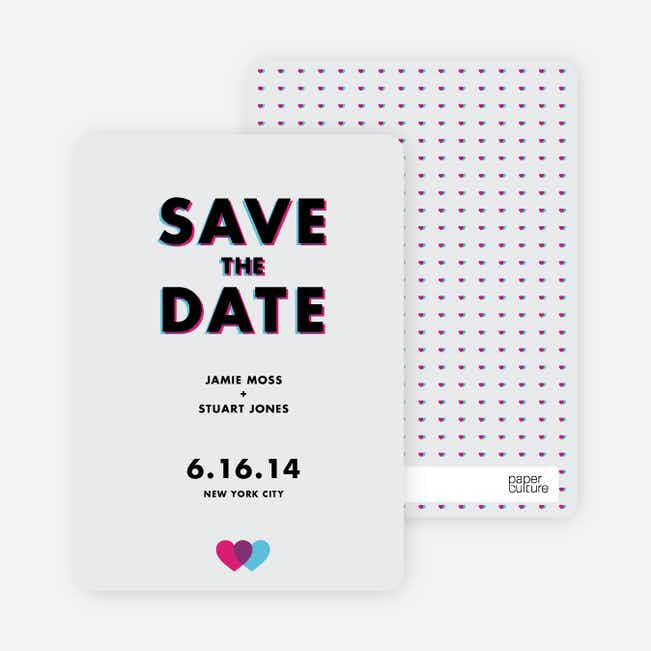 3D Save the Date Cards - Grey
