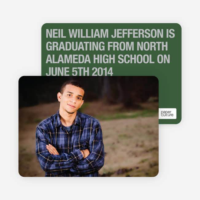 Bold Graduation Announcements and Invitations - Green