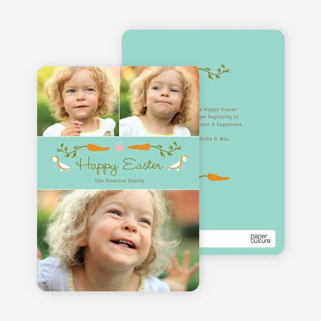 Carrot Themed Easter Photo Cards - Blue