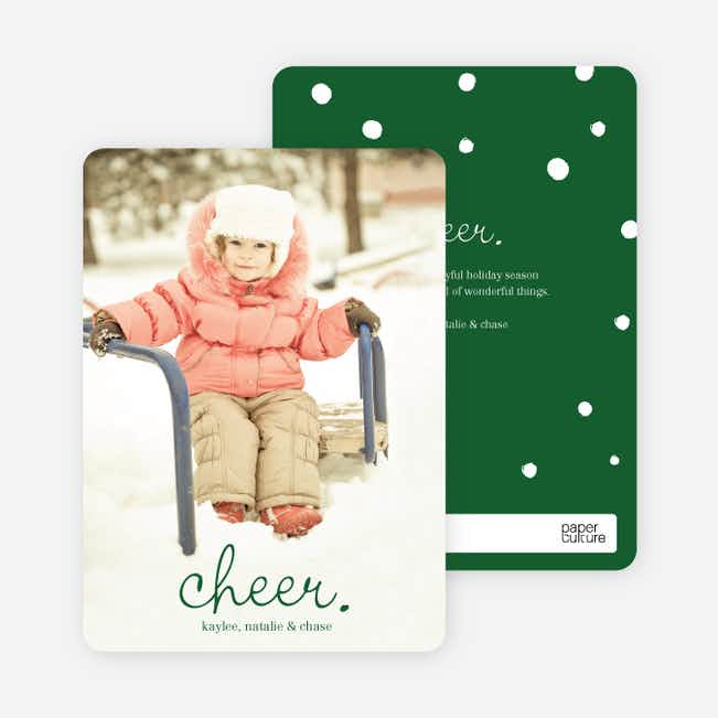 Cheer, Cheerful Holiday Photo Cards - Green
