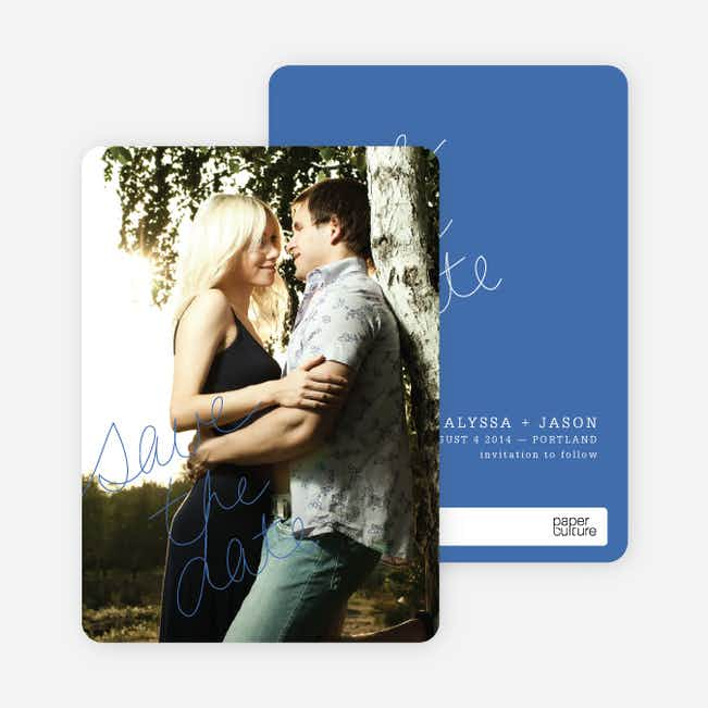 Cloud Writer Save the Date Cards - Blue