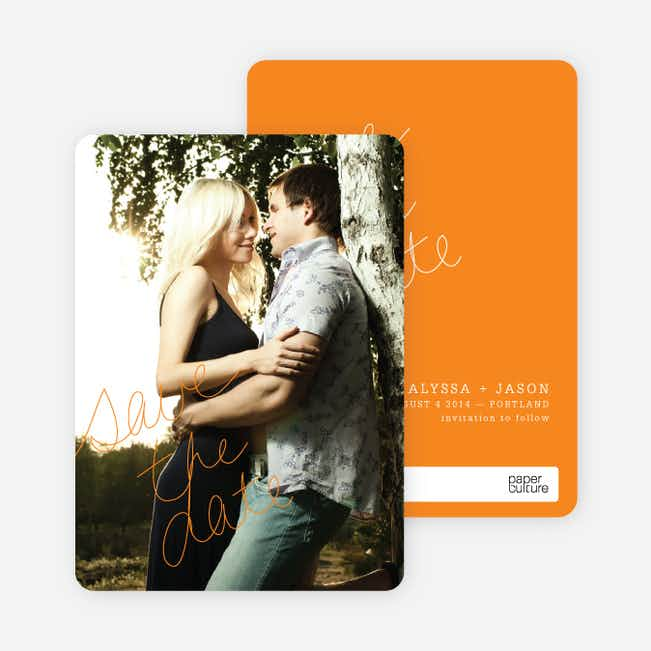 Cloud Writer Save the Date Cards - Orange