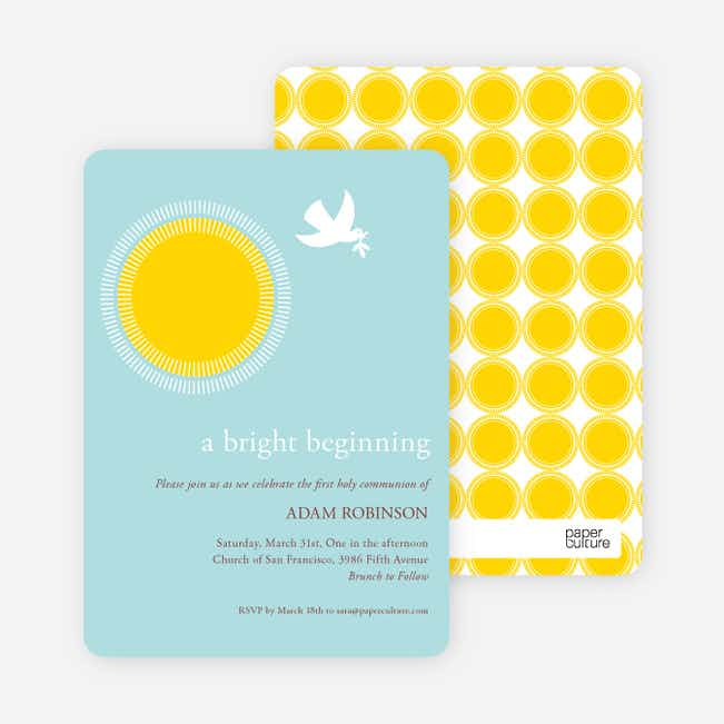 Dove Blessings Holy Communion Invitations - Yellow