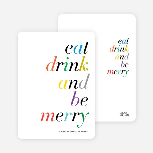 Eat, Drink And Be Merry Holiday Party Invitations | Paper Culture