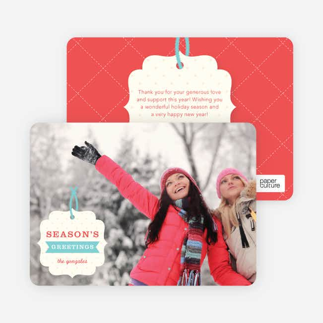 Gift Tag Holiday Photo Cards - Red