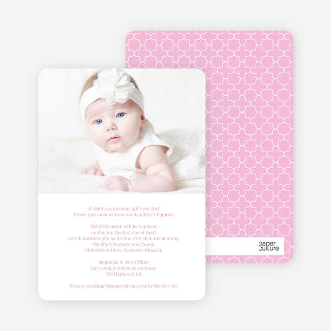God's Gift Baptism Invitations - Pink