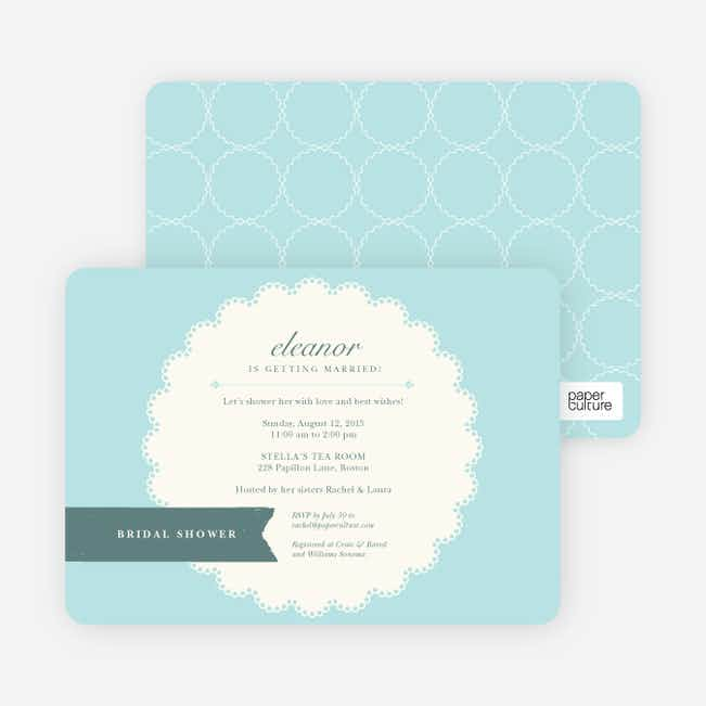 Lace Doily Bridal Sower Invitations - Blue