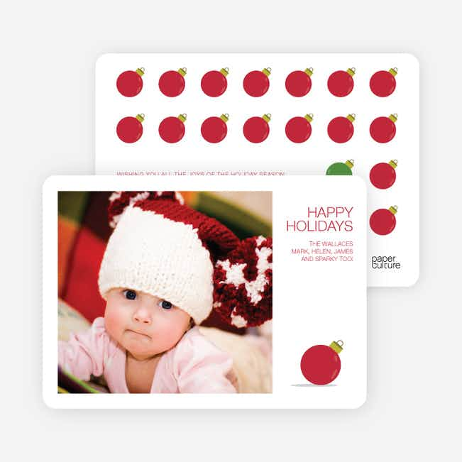 Ornaments in the Rough Holiday Photo Cards - Red