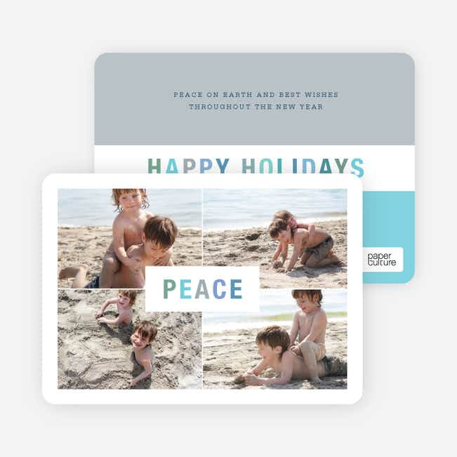 Peace and Happy Holidays Photo Cards - Blue