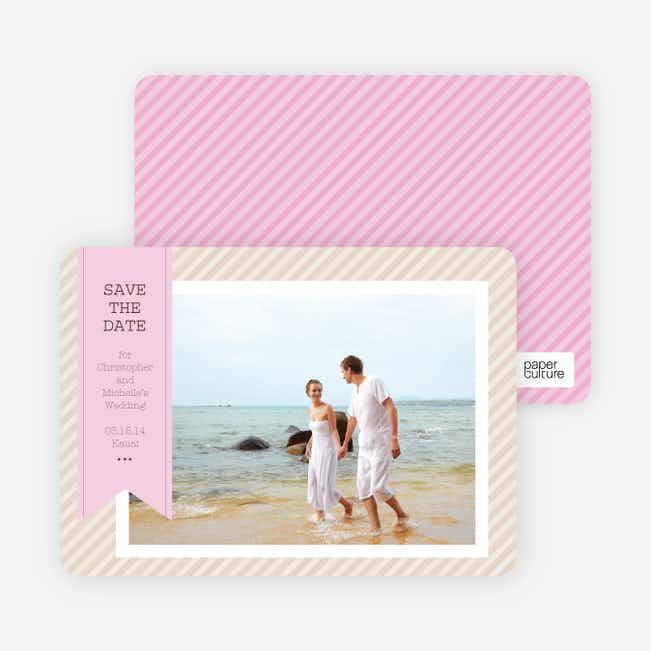 Photo Label Save the Date Cards - Pink