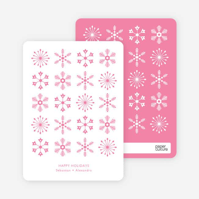 Snowflakes Galore Holiday Cards - Pink