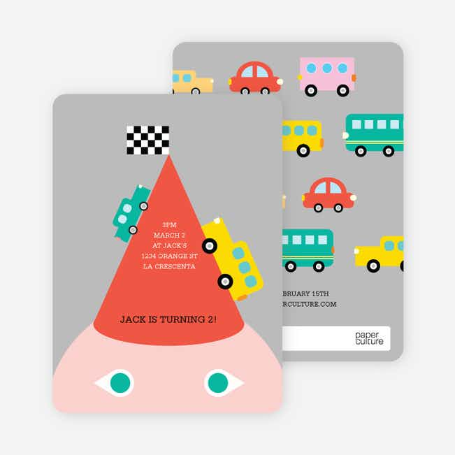 Traffic Jam Cars, Busses and Trucks Birthday Party Invitations - Red