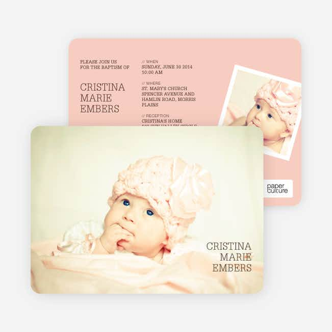 Unique Baptism Invitations - Pink
