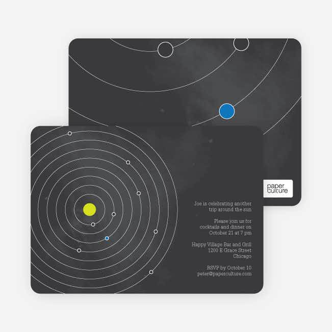 Universe Themed Solar System Birthday Invitations - Black