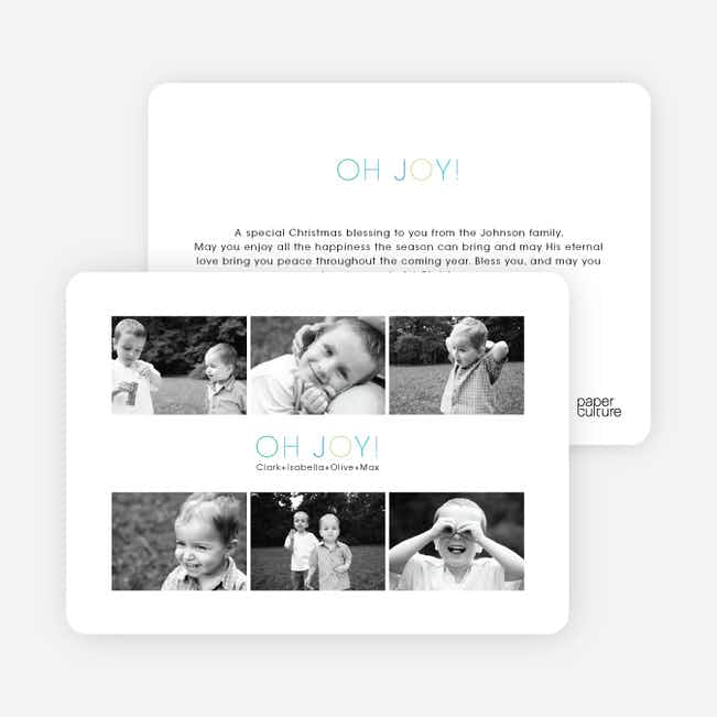 6 Photos in One Holiday Photo Card - Cornflower