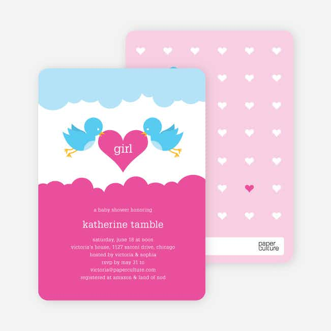 Bird Messenger Modern Birthday Invitations - Pink