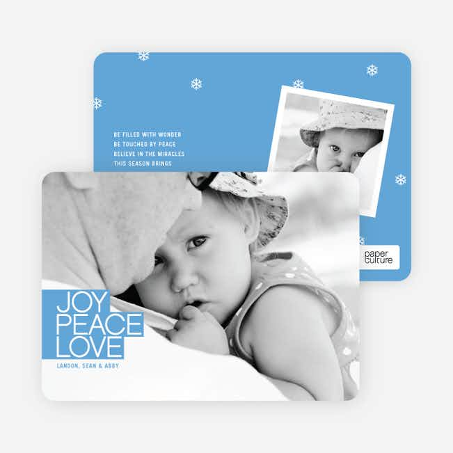Bold Joy, Peace & Love Holiday Photo Cards - Sky Blue