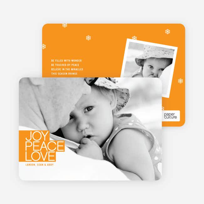 Bold Joy, Peace & Love Holiday Photo Cards - Papaya