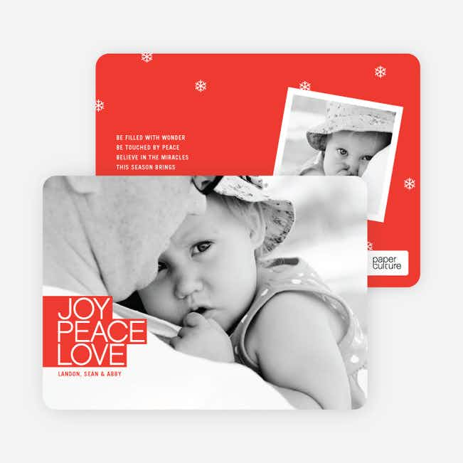 Bold Joy, Peace & Love Holiday Photo Cards - Cardinal Red