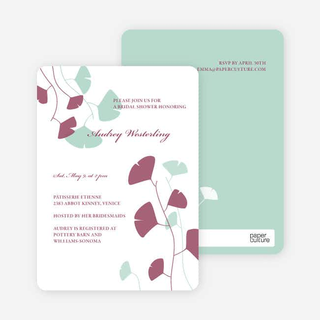 Bridal Shower Invitations: Leaves - Mint Green