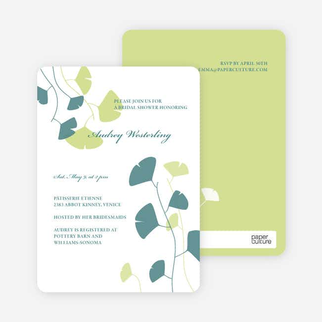 Bridal Shower Invitations: Leaves - Pistachio
