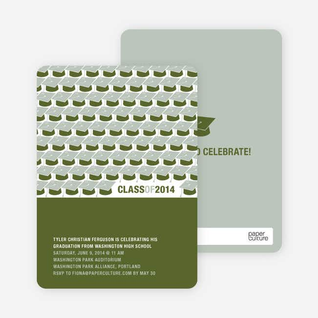 Caps but No Gowns Graduation Invitations - Khaki Green