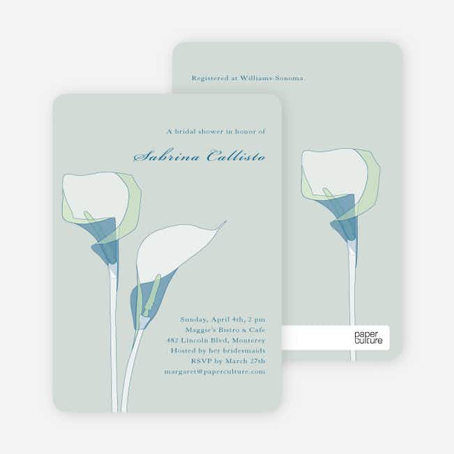 Elegant Flowers Bridal Shower Invitations - Blue Seagrass