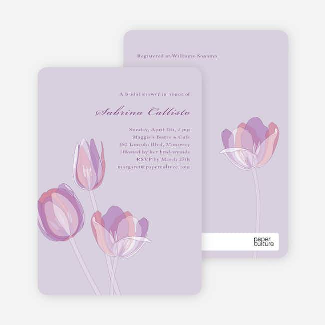 Elegant Flowers Bridal Shower Invitations - Tulip Lilac