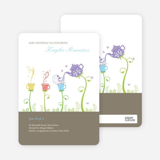 garden tea party baby shower invitation granite