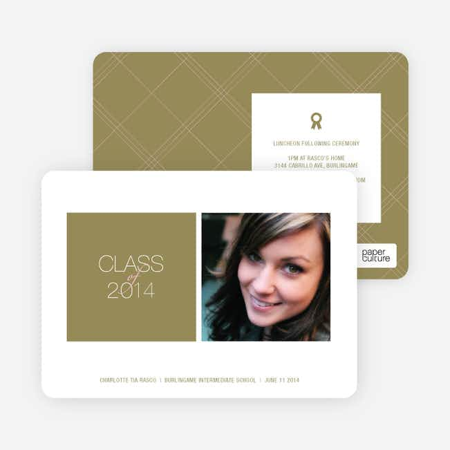Graduation Squares Invitations - Olive