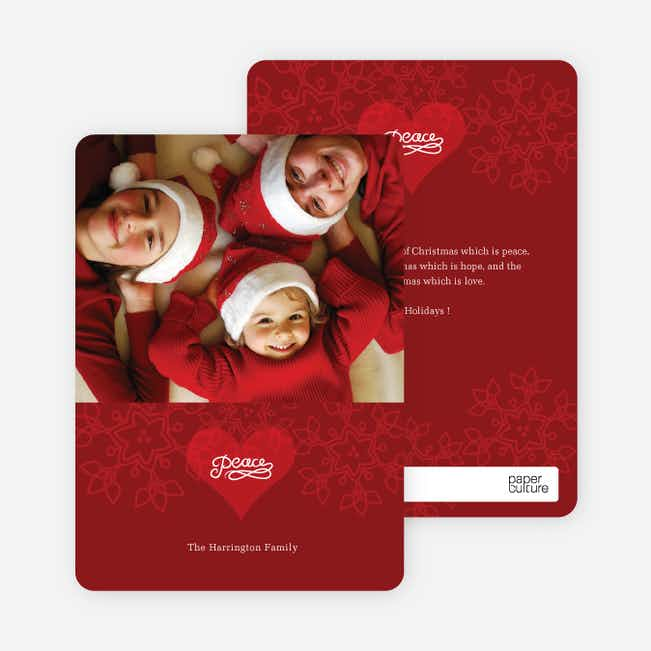 Holiday Peace Modern Photo Card - Raspberry Red
