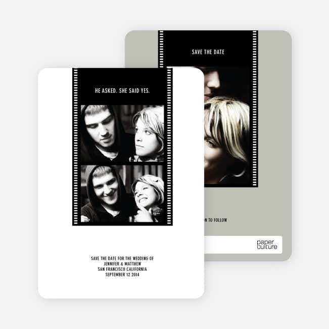 Hollywood Inspired Save the Date Photo Cards - Black