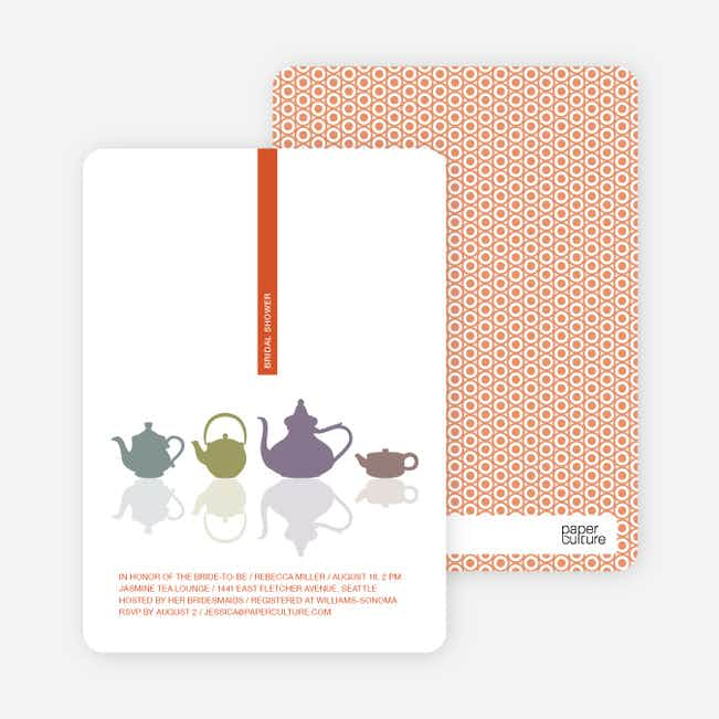Invitations for Bridal Shower Tea - Tangerine Orange